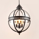 Industrial Globe Pendant Light Metal and Glass 3 Lights Black Hanging Pendant for Living Room