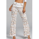 New Trendy Cartoon Cat Bone Printed White Yoga Flared Pants for Women