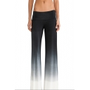 New Stylish Ombre Color Women's Black Cotton Casual Baggy Wide Leg Palazzo Pants