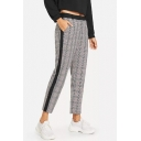Women's Trendy Gray Plaid Pattern Casual Cropped Pants