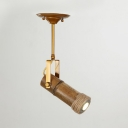 Bamboo Cylinder Semi Flush Ceiling Light Industrial 1/2/3-Light Spotlight in Brown for Clothes Shop