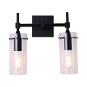 Metal and Glass Sconce Wall Light Dining Room Bathroom 2 Lights European Style Wall Light in Black