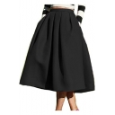 New Chic Solid Color Vintage Gathered Waist Midi Swing Skirt with Pocket