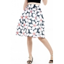 Hot Fashion Summer Retro High Rise Floral Printed Midi Swing Skirt