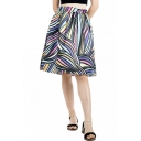Vintage High Waist Colorful Stripe Pattern Midi Flared Swing Skirt