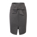 Office Lady Simple Solid Color Bow-Tied Waist Split Front Pencil Skirt