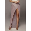 Womens New Trendy Solid Color Sexy High Split Front Maxi Beach Bodycon Knit Skirt