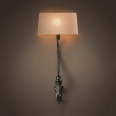 Rectangle Shade Bedroom Foyer Wall Light Fabric and Metal Rustic Style Sconce Lamp with Leaf Shade Body in Black/Rust