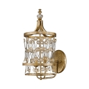 Metal Lantern Shape Sconce Light 2 Lights Vintage Style Wall Light in Gold for Bedroom Hotel