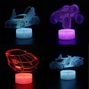 Touch Sensor 3D Night Light 7 Color Changing Off-Road Vehicle Bedside Lamp with Remote Controller for Kids
