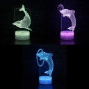 Dolphin Pattern 7 Color 3D Bedside Light Touch Sensor Remote Control LED Night Light with USB Port and Battery for Home