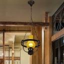 Metal Cracked Glass Kerosene Hanging Lamp 1 Light Antique Style Light Fixture in Black for Kitchen