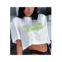 Cool Street Letter CUTE AND PSYCHO Printed Round Neck Cropped White T-Shirt