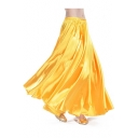 Trendy Women's Plain Satin Flamenco Full Circle Swing Halloween Belly Dance Tribal Gypsy Tiered Skirt