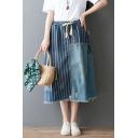 New Stylish Drawstring Waist Stripe Patchwork Midi Blue A-Line Denim Skirt for Girls