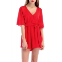 Summer New Trendy Simple Plain V-Neck Bow Tied Waist Culottes Rompers