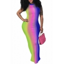 Summer Chic Tie Dye Colorblock Sexy Backless Halter Neck Maxi Bodycon Dress