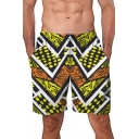 Mens New Fashion Yellow Geometric Printed Summer Beach Swim Trunks