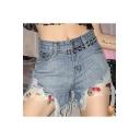 Summer Girls New Stylish Floral Patched Frayed Hem Light Blue Denim Shorts