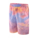 Stylish Pink Cloud Printed Guys Elastic Waist Loose Fit Beach Swimwear Swim Trunks with Lining