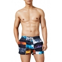 Cool Black Landscape Printed Drawstring Waist Casual Beach Board Shorts Swim Shorts