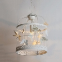 1 Light Birdcage Pendant Light with Butterfly Flower Decoration Rustic Style Metal Light Fixture in White