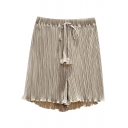 Girls Summer Trendy Solid Color Drawcord Waist Casual Loose Pull-On Shorts Pleated Shorts