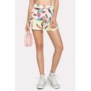 Womens Fashion Painting Leaf Pattern Summer Stylish Casual Loose Shorts