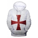 Knights Templar Cross Pattern White Loose Fit Pullover Hoodie
