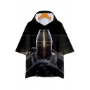 Knights Templar Cool 3D Figure Printed Short Sleeve Hooded Black Loose T-Shirt