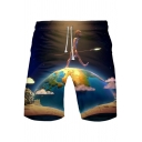Cool Funny Comic Figure on Earth Printed Drawstring Waist Cotton Loose Relaxed Shorts
