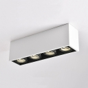 Aluminum Rectangle LED Down Light with Heat Sink High Brightness 4 Heads Flush Mount Light in White/Warm for Living Room