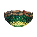 Stained Glass Dragonfly Pattern Wall Light 1 Light Tiffany Style Vintage Sconce Light for Stair Hallway