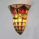 Stained Glass Wall Lamp Dining Room Study 1 Light Tiffany Style Antique Sconce Wall for Hallway Stair