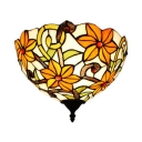 Restaurant Shop Flower Pattern Wall Lamp Stained Glass 1 Light Tiffany Style Rustic Sconce Light