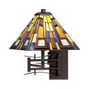 Tiffany Style Colorful Wall Light with Tapered Shade 1 Light Stained Glass Swing Arm Sconce Light for Bedroom