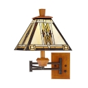 Colorful Shade Sconce Light 1 Light Tiffany Style Vintage Stained Glass Wood Swing Arm Wall Lamp for Bedroom