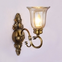 Vintage Style Bell Shade Wall Light 1/2 Lights Metal Glass LED Sconce Lamp for Foyer Dining Room