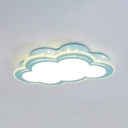 White Lighting Flush Mount Light Cute Blue Cloud Shape Acrylic Metal Ceiling Light for Kindergarten