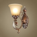 White Bell Shade Wall Lamp 1 Lights Antique Style Resin Frosted Glass Sconce Lamp for Hotel Restaurant
