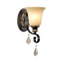 Elegant Bell Shade Wall Lamp Glass and Metal 1 Light Black Sconce Light for Bathroom Bedroom