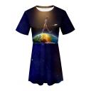 Trendy Blue Galaxy Figure on Earth Print Short Sleeve Round Neck Mini A-Line T-Shirt Dress