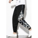 Men's Chinese Style Dragon Stitching Printed Leisure Cotton Relaxed Tapered Pants Trousers