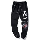 Black Skull Drawstring Waist Cotton Casual SweatPants for Unisex