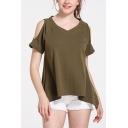 Summer New Stylish V-Neck Cold Shoulder Short Sleeve Solid Color Asymmetrical Green Tee