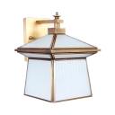 Traditional House Shape Wall Light 1 Light Metal Glass Down Lighting Sconce Light for Bedroom Hallway