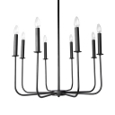 Simple Style Black Chandelier with Fake Candle 8 Lights Metal Light Fixture for Dinging Room
