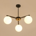 Classic Globe Shade Ceiling Light Frosted Glass 3 Lights Black/White Chandelier for Bedroom Hotel