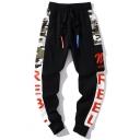 Cool Camo Printed Black Drawstring Waist Cotton Casual Sport Joggers SweatPants Cargo Pants