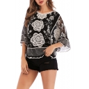 Women's Floral Print 3/4 Length Sleeve Round Neck Embroidered Black T-Shirt